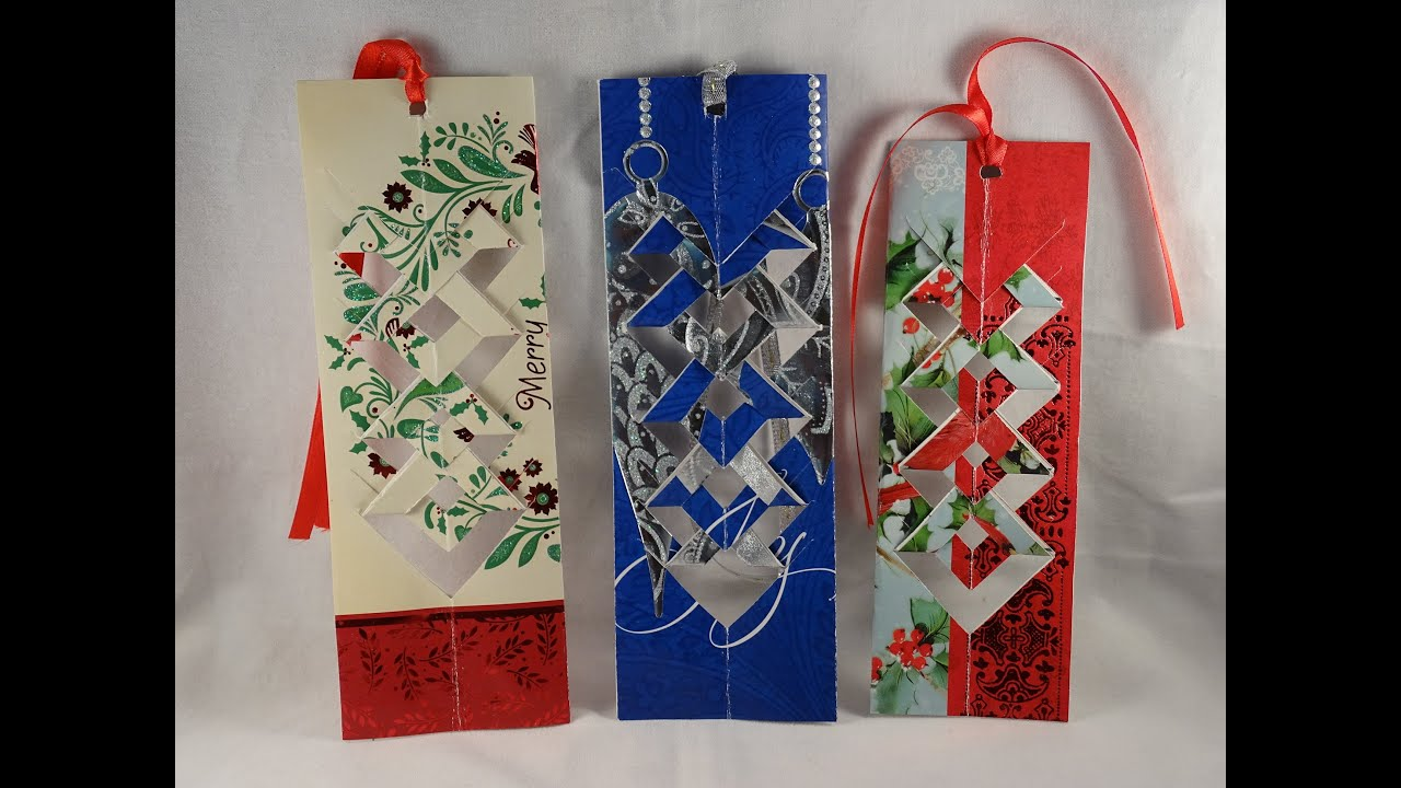 how to make a bookmark out of a recycled christmas card with yoyomax12 youtube