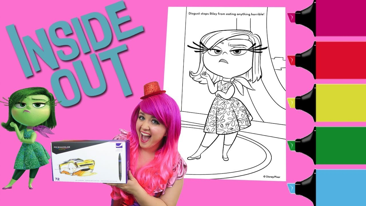 Coloring Disgust Inside Out Book Page Colored Markers Prismacolor