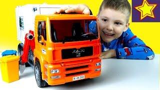 Машинки Bruder Большой Мусоровоз распаковка игрушки Kids bruder toys unboxing(Привет, ребята! В этой серии Игорюша достает из коробки большой мусоровоз Брудер. Это грузовик с оранжевой..., 2017-01-04T05:00:03.000Z)