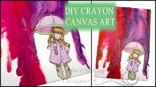Diy Melted Crayon Art Tutorial - Gorjuss Girls Puddles Of Love Canvas