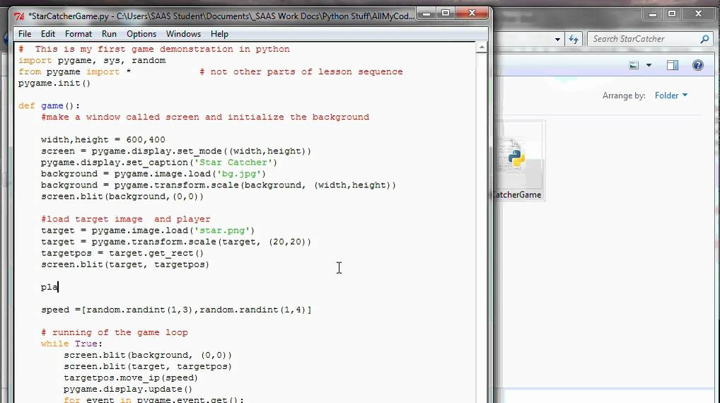 Python - Pygame Lesson - Star Catcher Part 4 - player added