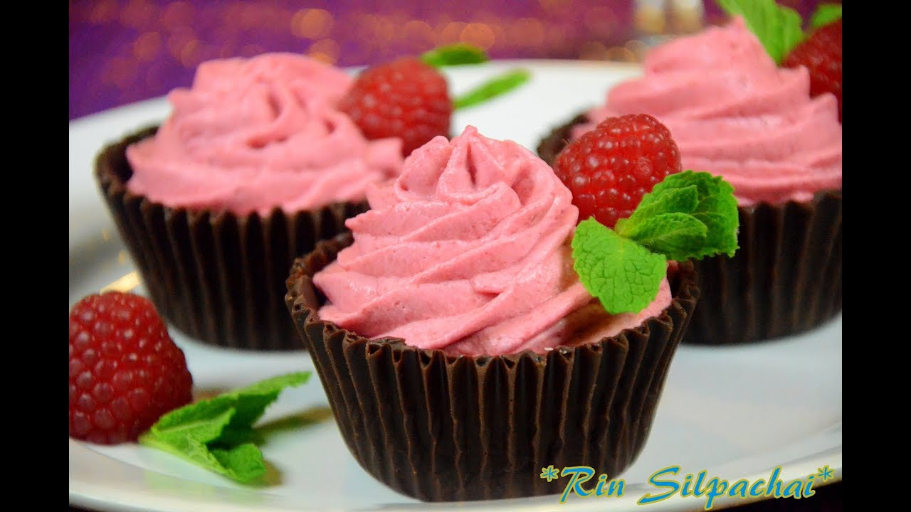 How To Make Raspberry Mousse In Chocolate Cup Youtube