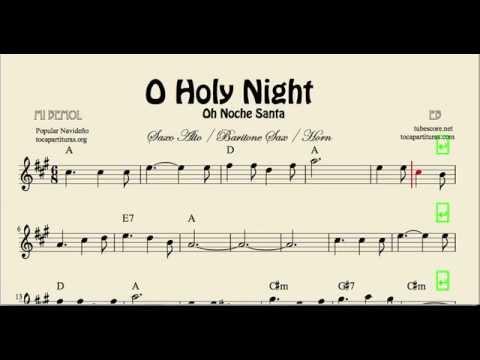 O Holy Night Sheet Music for Alto Saxophone Baritone Saxophone and Horn Noche Santa Christmas Carol
