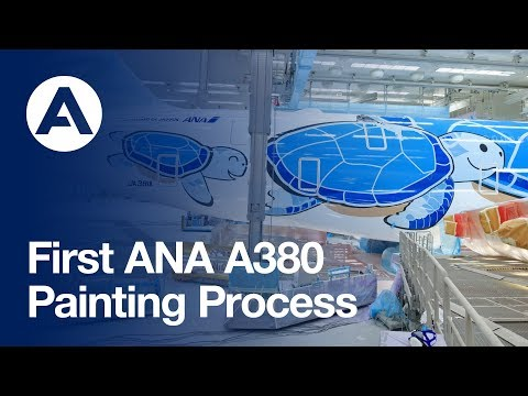 ANA's first A380 - Painting Process
