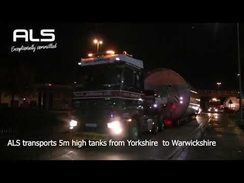 Oversized 5m wide tanks transported by ALS