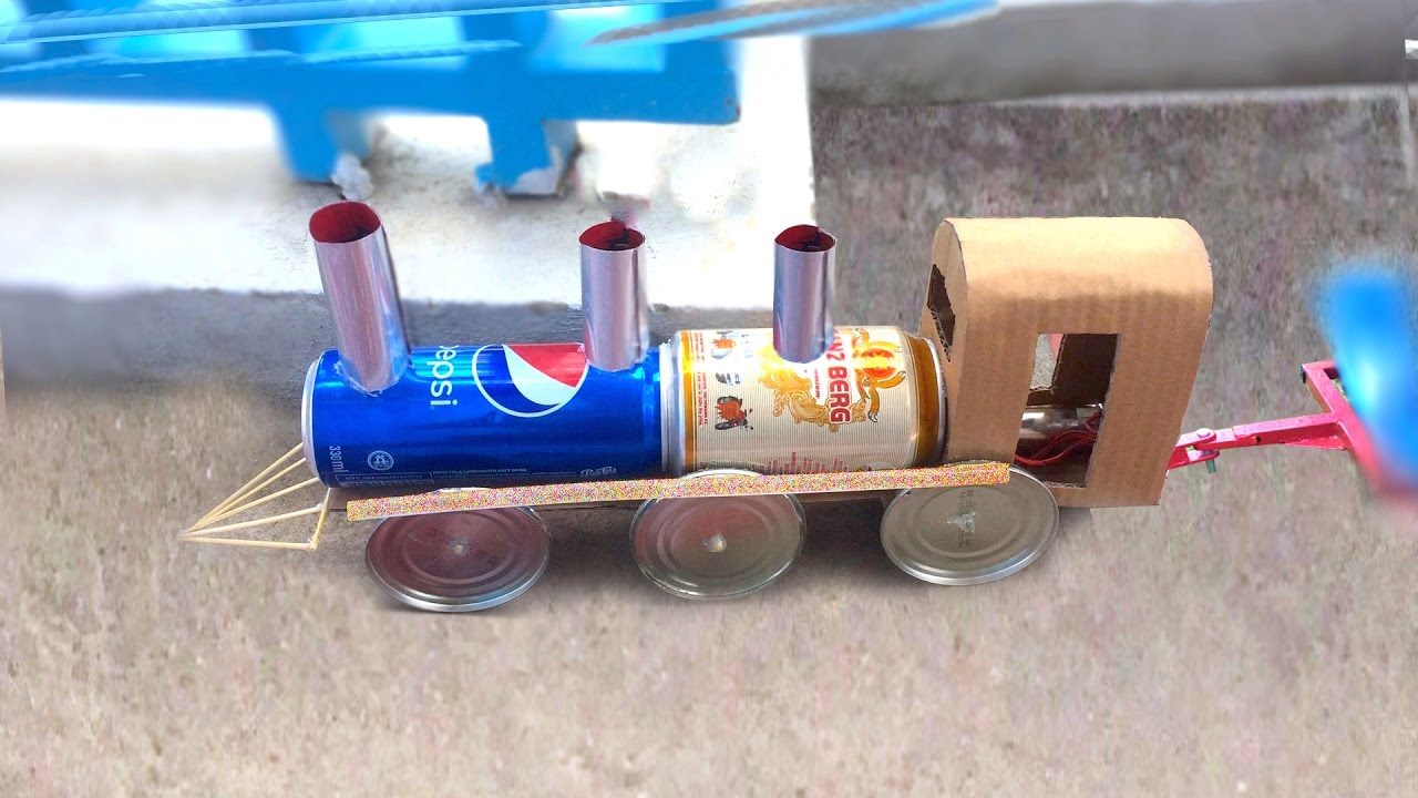 Diy electric train how to make a powered train using dc for How to make a homemade electric motor