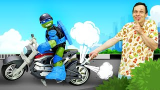 Мотоцикл Черепашки Ниндзя сломан - Автомастерская Федора - Видео для мальчиков про машинки