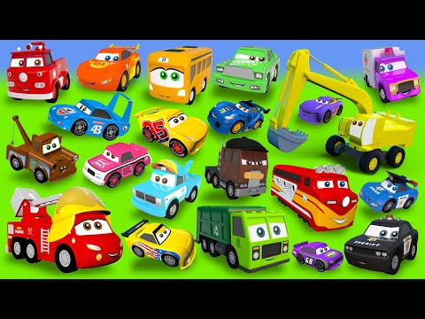 Fire Truck, Police Cars, Excavator, Train, Garbage Truck, Tractor Construction Vehicles
