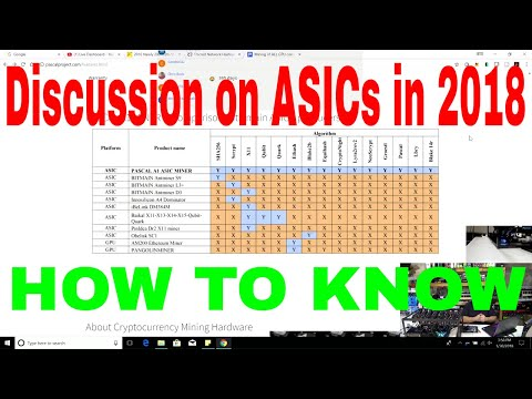 Outlook in 2018 related to ASICs, how can we tell when new ASICs are coming out for an Algorithm?