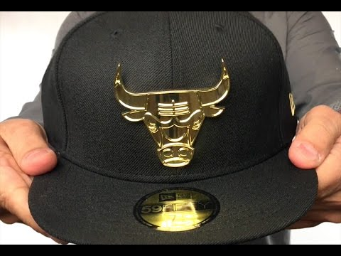 Bulls  GOLD METAL-BADGE  Black Fitted Hat by New Era - YouTube c61081db78d