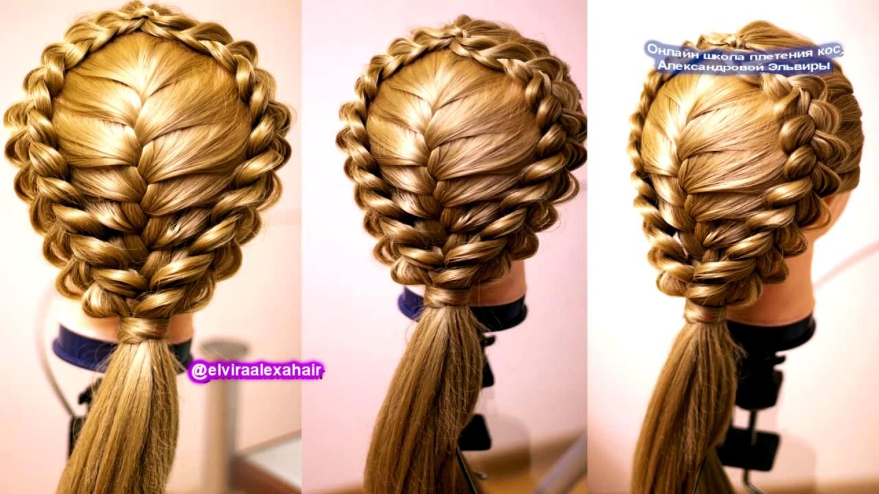 Причёска из трёх кос Французская обратная коса Hair tutorial