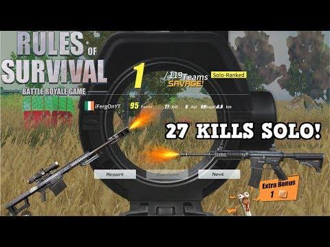 27 Kill Record Solo ! Rules Of Survival M14 EBR and Barrett New Kill Record !