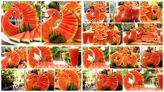 How To Make Watermelon Peacocks - Watermelon Juice - Food Art - Party Decoration