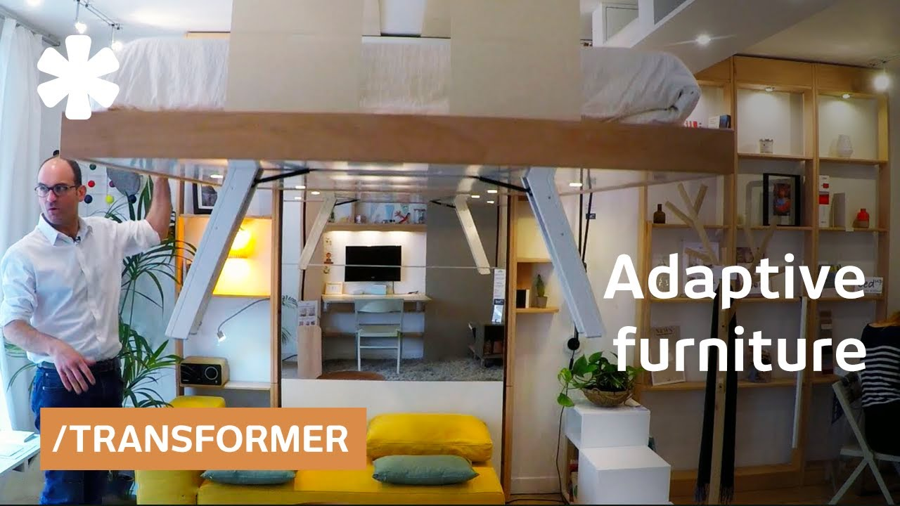 3f842644206e Adaptive space-saving bed snaps into ceiling when not needed - YouTube