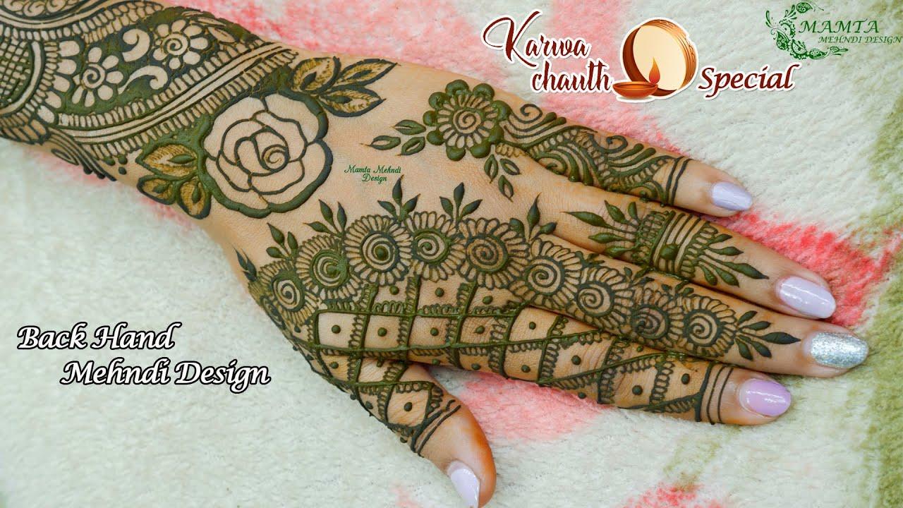 Back Hand Karwa Chauth Special Mehndi Design 2020   करवा चौथ स्पेशल 2020   Easy Floral Mehndi