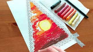 Oil pastel drawing # 42 / Triangle sunset by Nova Art Studio / Landscape scenery with oil pastels.