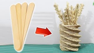 How to make a flower vase with popsicle sticks