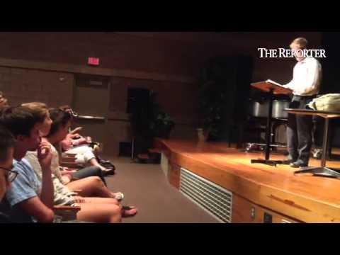 Christopher Dock Mennonite high school student Bryce Hagan gives his senior presentation at the scho