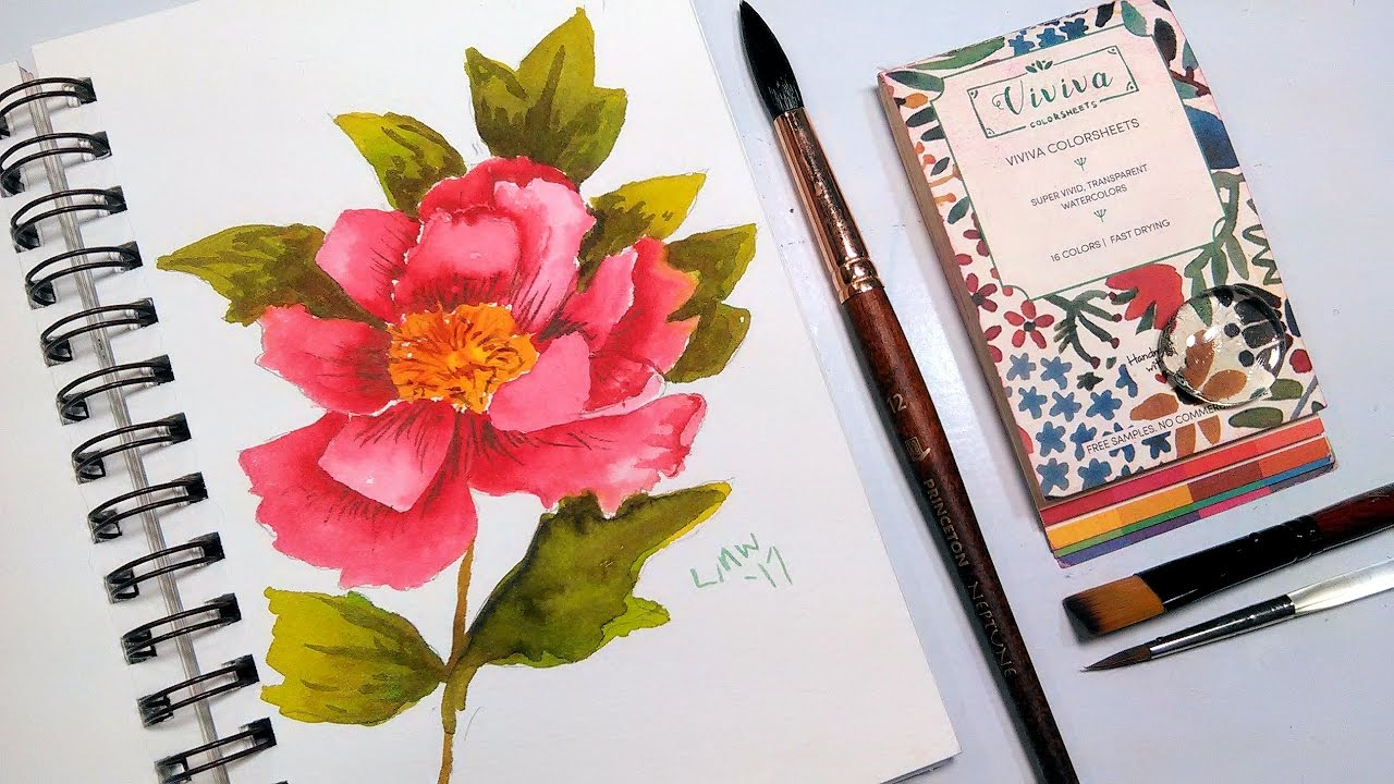 Review: Viviva Colorsheets & Peony Painting Tutorial - YouTube