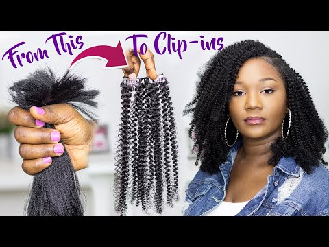 😱SHE CHANGED THE GAME AGAIN!!! DIY $2.80 kinky curly CLIP-INS with Straight Kanekalon hair!!!