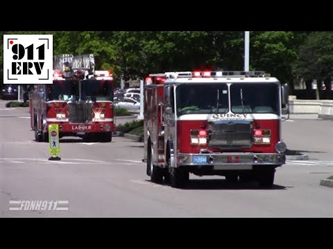 Quincy, Massachusetts Fire Department Engine 2 and Ladder 5 Responding