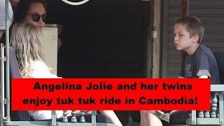 Angelina Jolie and her twins enjoy tuk tuk ride in Cambodia!