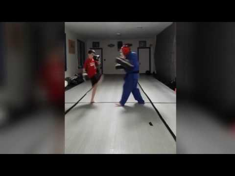 Rocco Hitting Hitting The Thai Pad (Karate, Muay Thai, Thai Boxing, Children, Martial Arts, 14433)