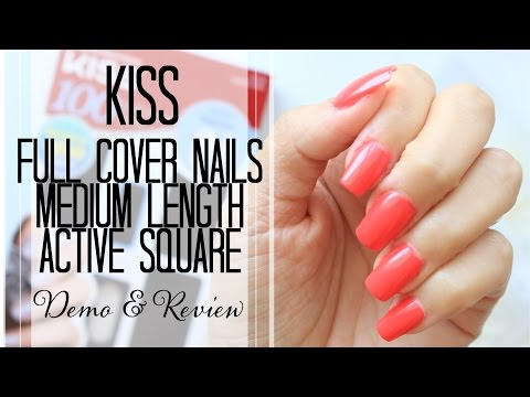 Kiss Full Cover Medium Length Nail Kit, Active Square Demo and Review |Exquisite Glow