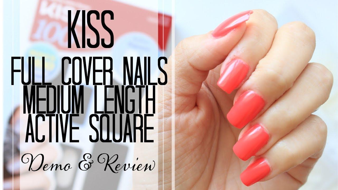 Kiss Full Cover Medium Length Nail Kit, Active Square Demo and ...