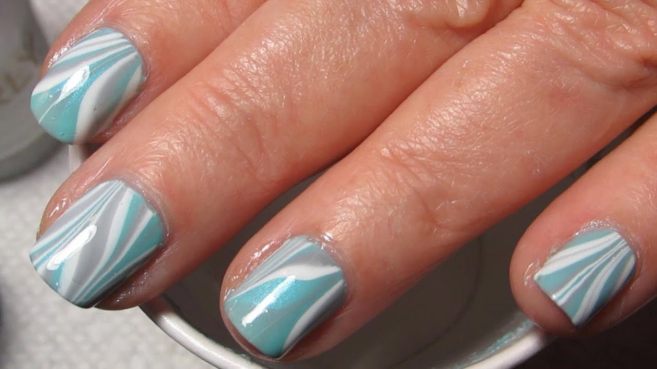 Turquoise White Amp Grey Water Marble Nail Art Tutorial