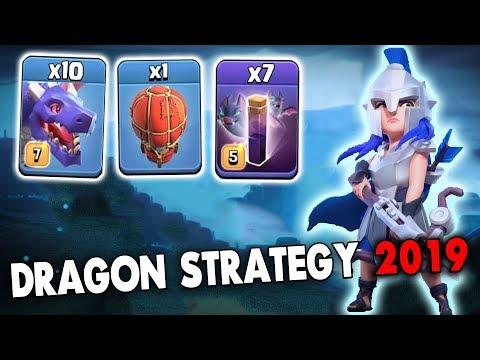10 Max Dragon 7 Bat Spell Stone Slammer Attack Strategy 2019! TH12 Dragon Skill 3star War Attack