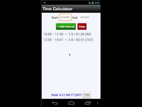 Time Calculator - Logbook Pro Mobile (Android) - NC Software