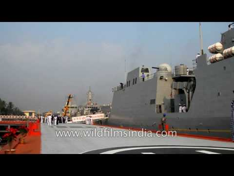 Indian Naval officers at INS Sumitra, the presidential yacht of India