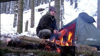 Extreme camping, Winter snow, UK, January 2013