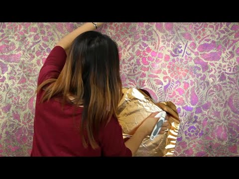 How to Stencil a Metallic Foil Wall Finish - Bohemian Glam DIY Decor with Wall Stencils