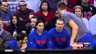 FUNNY Kristaps Porzingis Thinks Hes Coming Into Game When Hes Not  Knicks vs Rockets  11.21.2015