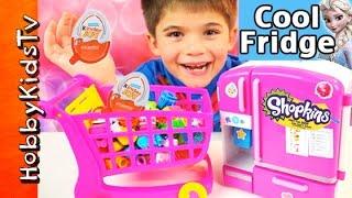 NEW Shopkins COOL FRIDGE! Kinder Eggs Surprises Chocolate + Toys Elsa HobbyKidsTV