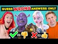 Try To Guess WRONG ANSWERS ONLY Challenge (Marvel, Frozen, Harry Potter)