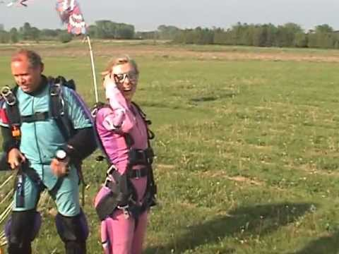 Christine Wallace does a tandem skydive with Sam Schaffer