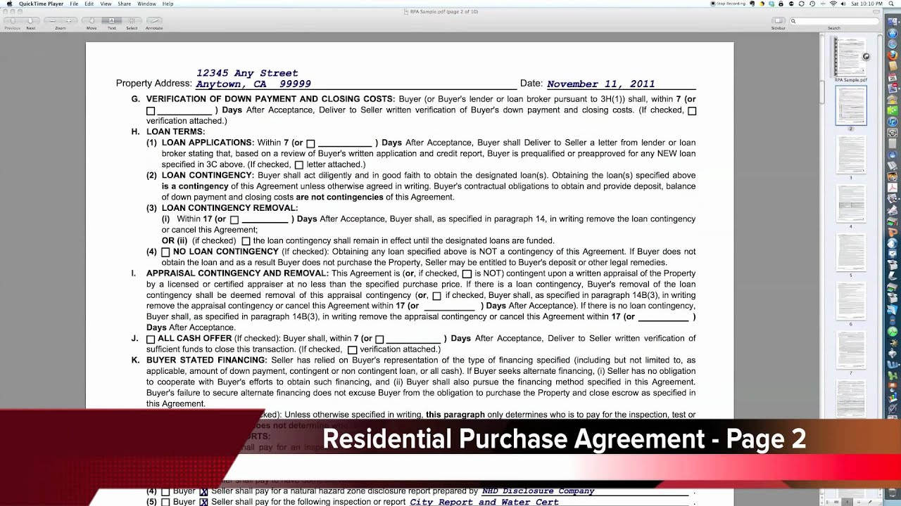 Residential Purchase Agreement Part 1 Youtube