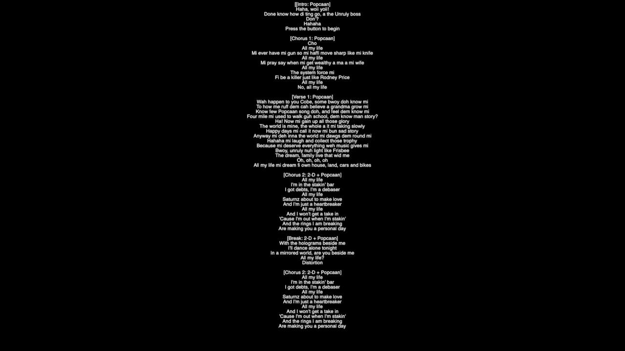 Full Lyrics) Saturnz Barz Gorillaz Featuring Popcaan Album Humanz ...