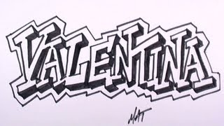 Graffiti Writing Valentina Name Design #29 in 50 Names Promotion | MAT