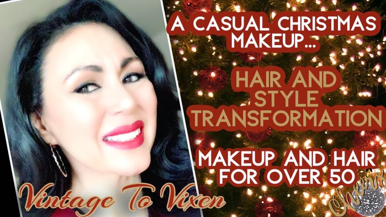 A Casual Christmas Makeup, Hair and Style Transformation...Drug Store Edition (2019) Makeup Over 50