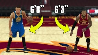 What If LEBRON JAMES And STEPHEN CURRY switched HEIGHTS? NBA 2k17 Gameplay!