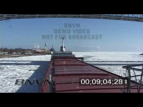 Great Lakes Freighter Edward L Ryerson in ice field on Lake Huron - Short Edit