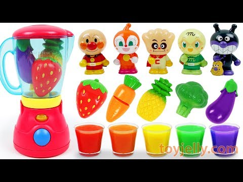 Learn Colors Feeding Baby Food Anpanman Dolls Fruits & Vegetables Velcro Blender Toys Kids Songs