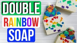Double Rainbow Soap w/ 6 Frosting Colors! | Royalty Soaps