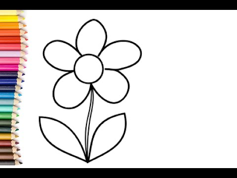Glitter Flower drawing and coloring for kids | kids song