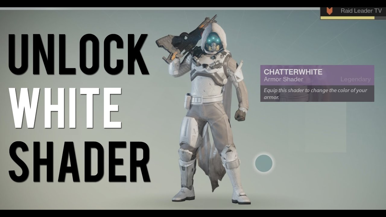 White stormtrooper armor in destiny chatterwhite shader youtube