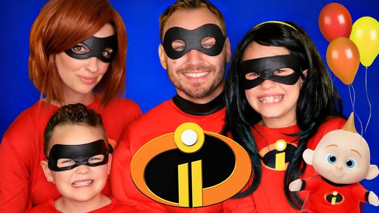 Download Disney Pixar Incredibles 2 Party Mr. Incredible, Elastigirl, Violet, Dash, and Jack Jack Costumes!